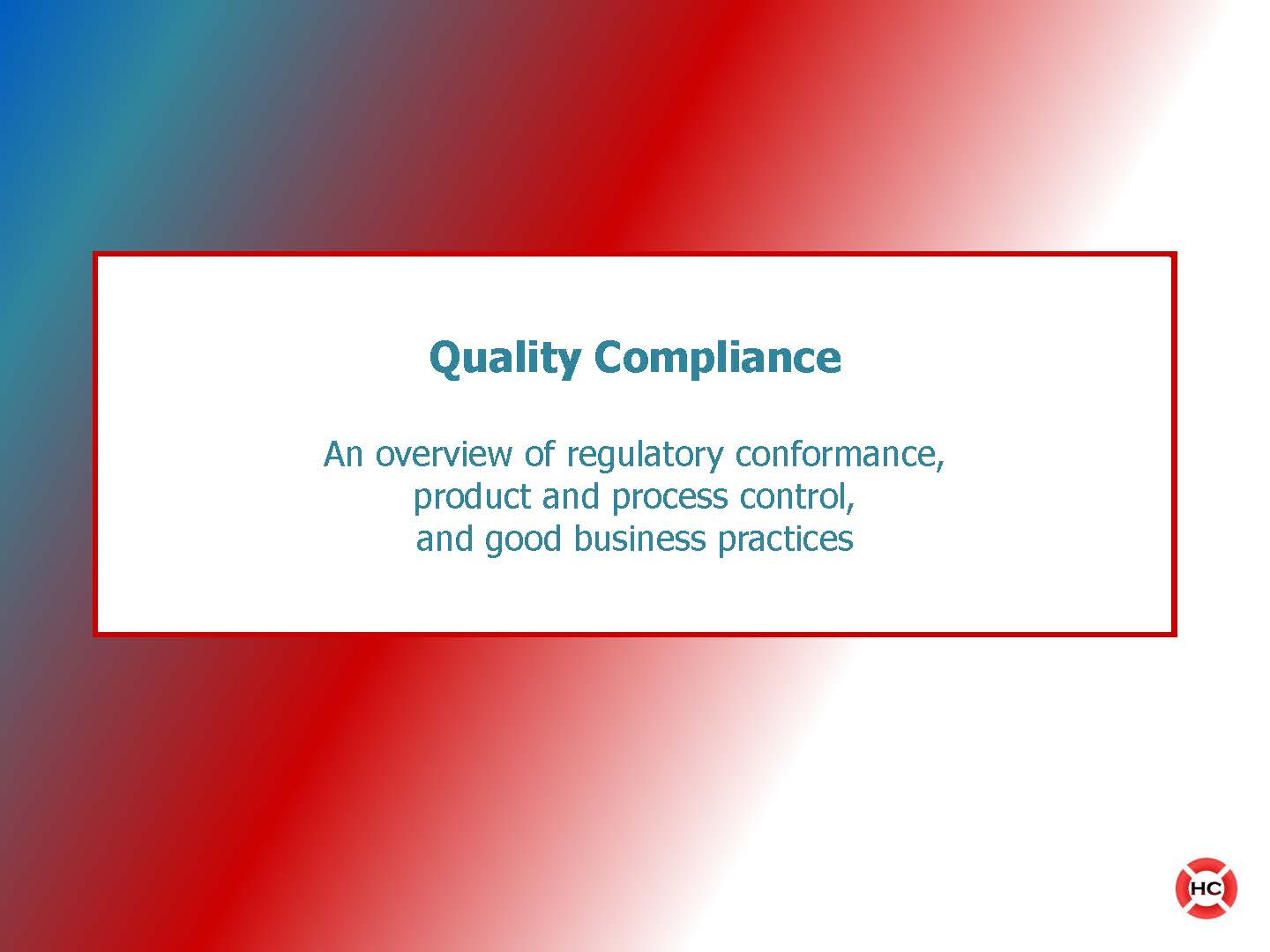 Training Presentation - High Level Compliance Overview